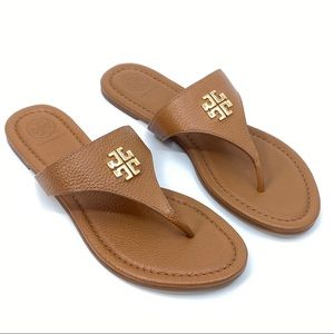 Tory Burch Jolie Flat Thong Royal Tan Sandal SZ 7